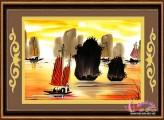 Tranh thêu Hòn Trống Mái - Vịnh Hạ Long (PC017)