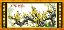 HQ036 - Tranh thêu cành mai vàng - Mai khai phú quý (khổ to)