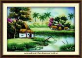 PC005 - Tranh thêu Nhà ven sông