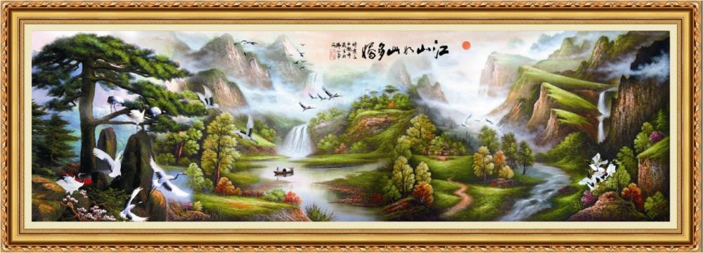 tranh gan theu chu thap phong canh son thuy huu tinh s8231