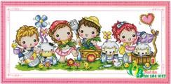 HH001 - Tranh Thêu Bé thơ vui cùng nông trại