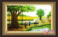 Tranh thêu chữ thập Việt Nam PC012 - Chiều Buông