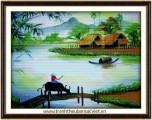 Tranh thêu Bến sông quê PC003